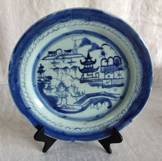 10 inches Chinese Antique 19th Century Export Porcelain Canton Blue and White Plate by 88AsianAntiques on Etsy