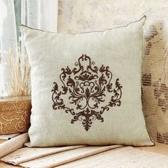 Ultra-Snob Antique Metallic Embroidery Cushion Cover Beige And Bronze
