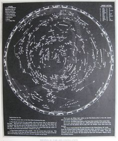 STARS and CONSTELLATIONS Chart 1944 ASTRONOMY Map 1940s Map Plaindealing 2031