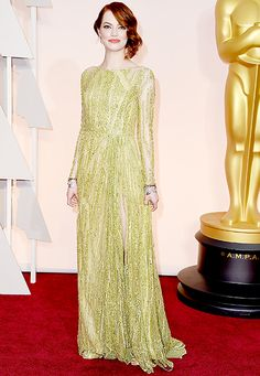 Emma Stone attends the 87th Annual Academy Awards.