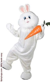 Easter Bunny Mascot Costume 6Pc Wht Long Faux Fur Jumpsuit Feet Mitts /& Mask Lg