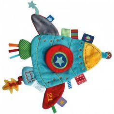 Doudou plat Holiday rocket : Label label - Doudou étiquettes - Berceau Magique