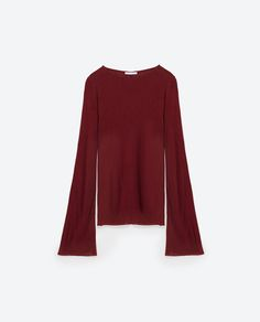 Image 6 of FLARED SLEEVE RIBBED T-SHIRT from Zara