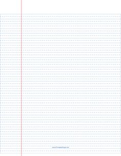 This wide-ruled writing paper includes a dashed line in the center to help kids form their letters. We offer this paper with black lines, too. Free to download and print