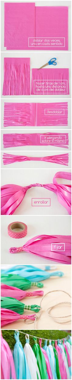 Tutorial DIY: cómo hacer tassel garlands. http://www.azucarillosdecolores.com/2014/09/tutorial-diy-tassel-garland-o-guirnalda.html