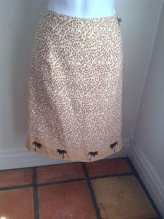 Silk Club Skirt Medium sz 10 Animal Cheetah Print Palm Trees Linen Pencil B19 #SilkClub #ALine