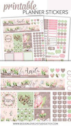 Printable Happy Planner April Monthly Planner Stickers Kit