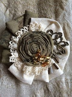 Denim Flowers, Leather Flowers, Fabric Art, Fabric Crafts, Textiles, Fabric Flower Necklace, Making Fabric Flowers, Shabby Chic Flowers, Fabric Brooch