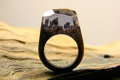 Black Glitter Magic Wooden Ring Unique products made individulno for each buyer