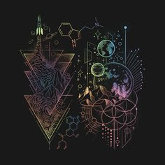 'DMT LSD Molecule Space Force T Shirt Psy Volunteer Gift' ad molecule tattoo Psychedelic Tattoos, Psychedelic Art, Kunst Tattoos, Body Art Tattoos, Kratz Kunst, Lsd Molecule, Symbole Tattoo, Geometric Shape Tattoo, Beste Freundin Tattoo