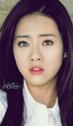 eyes Asian green woman with