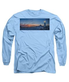 Maritime History Long Sleeve T-Shirt featuring the photograph Sunset At Scituate Light by Jeff Folger