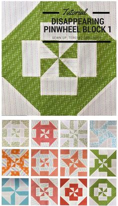 Disappearing Pinwheel quilt block with eleven variations!  Tutorial is from Sewn Up blog.  This is such a cool idea!