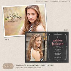 Senior Graduation Announcement Template for Photographers PSD Flat card chalkboard chevron