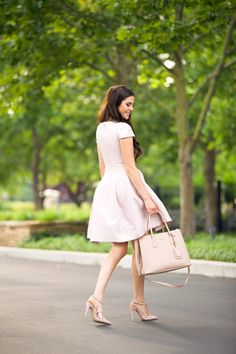 Pink Peonies by Rach Parcell | Saffiano Cuir Small Double Bag, Blush/Rose (Cammeo+Rosa)