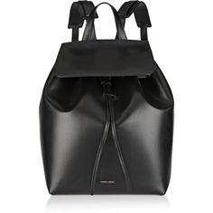 Mansur Gavriel Leather backpack (2.645 BRL) ❤ liked on Polyvore featuring bags, backpacks, accessories, bolsas, сумки, black, backpack bags, knapsack bag, leather bags and leather knapsack