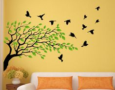 "Tree, green leaves, birds Wall decal, Doves silhouette, Removable Vinyl Wall decal for living room, bedroom  Arbre feuilles vertes, oiseaux, silhouettes colombes, Décoration murale vinyle, 48""H x 70""Large ou adapté à vos dimensions, Art Mural F48006"