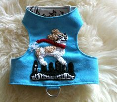 Hand crocheted pet portrait dog harness
