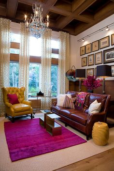 living room, sitting room, bright color, chartreuse, fuchsia, pink, magenta, garden stool, leather, chairs, worldly, culture