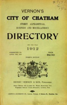 Vernon's city of Chatham street, alphabetical, business, and miscellaneous directory for the year 1912