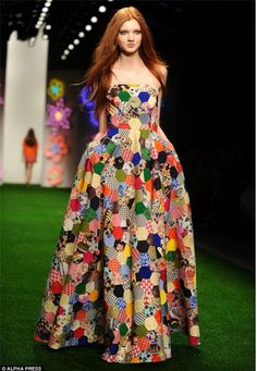 A hexagon ball gown,perfect for quilt market.