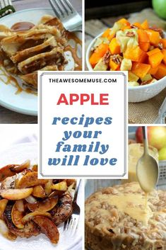 Apples are so good in savory and sweet recipes. We've rounded up some great apple recipes your family will love that are delicious, healthy, and easy to make. You'll find apple side dishes, main dishes and soups made with apples, and of course you'll find desserts like apple pie and apple cookies - even apple milkshakes and drink recipes! #apples #applerecipes #applepie #dessert #reciperoundup
