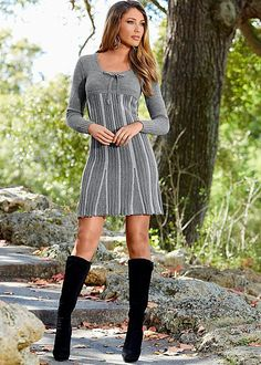 Empire sweater dress  I love the long boots and dress combo!