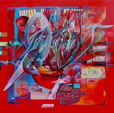 26 il rosso domina il multiverso _ 80x80 t. mista su tela _ 2014 luglio