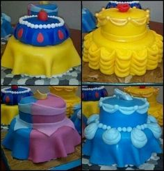 Omg these cakes! Snow white, belle, arora and cinderella!