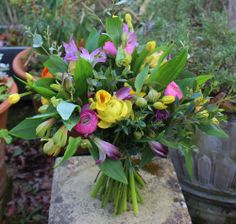 March bouquet using all British material in a bright colourful scheme
