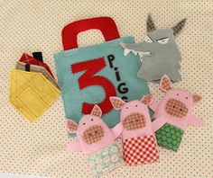 Adorable finger puppets for Three (3) little pigs from Joy's thoughts and things.