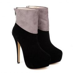 Fashion Style Women's Short Boots With Color Block and Sexy High Heel Design
