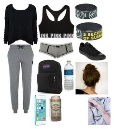 """""""Basically what I'm wearing to school tomorrow"""" by xxmia-hood-xx ❤ liked on Polyvore featuring Karl Lagerfeld, Converse, Charlotte Russe and JanSport"""