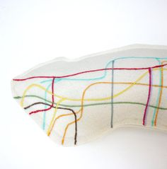 Manhattan metro map mini pillow with Central Park in bloom