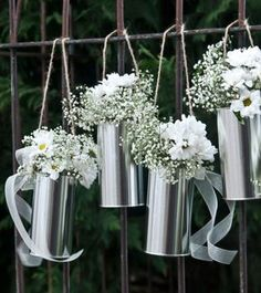 Dekorative, silberne Wedding Cans als Hochzeitsdekoration oder Blumentöpfe für romantische Highlights. Inhalt: 5 Stück