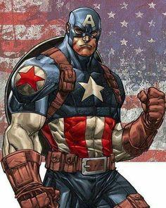 Captain America by Comic Book Artwork Marvel Dc, Marvel Comics Art, Dc Comics Art, Marvel Heroes, Comic Book Characters, Comic Book Heroes, Comic Books Art, Comic Art, Capitan America Comic