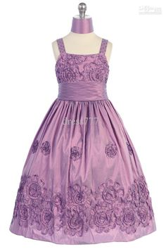Orchid Taffeta Designer's Quality Flower Girl Dress with Beaded Fancy Floral Pattern