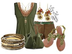 """""""Tree Hugger"""" by liz-higgins on Polyvore.  I really like the green. Boho Summer Outfits, Summer Fashions, Summer Clothes, Spring Summer Fashion, Winter Fashion, Capri Outfits, Expensive Clothes, Matches Fashion, Vampy Girl"""