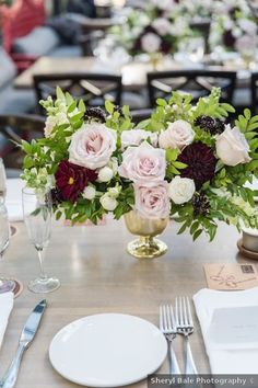 Wedding centerpiece decor - table, roses, red, pink, white, greenery, flowers, bouquet {Sheryl Bale Photography} Burgundy Wedding, Floral Wedding, Fall Wedding, Romantic Weddings, Real Weddings, Rose Got, Table Arrangements, Floral Crown, Color Of The Year