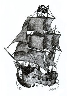 pirate ship #art #sketch #blackandwhite