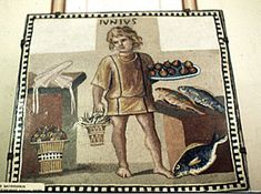This is what a Roman slave boy who worked in the house typically looked like.  Mosaic of Boy Kitchen Slave. Photograph. Hermitage Museum. Roman Clothing I. Vroma. Web. 27 Sept. 2011. .