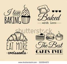 Vector set of vintage bakery logo. Retro logotypes collection with sweet cookie, biscuit elements. Hipster pastry icons. I love baking. Baked with love.