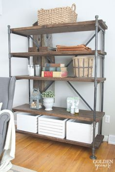 Industrial Pipe Shelving Unit - The Golden Sycamore  Aaron, we need to make one of these for my shoes!