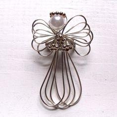 Silver toned wire wrap angel brooch