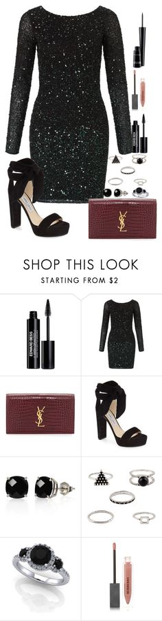 """""""she got a bad reputation"""" by emmafromrio ❤ liked on Polyvore featuring Edward Bess, Aidan Mattox, Yves Saint Laurent, Jimmy Choo, Belk & Co., Burberry and MAC Cosmetics"""