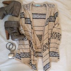 Tan & Grey Stripe Waterfall Cardi Long Sleeve, open cardigan.  Grey patterns forming striped detailing.  Only worn once. Pretty waterfall hemline.  TRADES Maurices Sweaters Cardigans