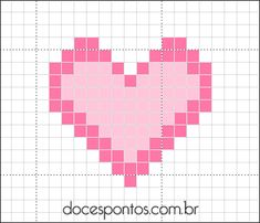 Heart ♥ crochet with bobble stich the heart. sc or hdc for background Cross Stitching, Cross Stitch Embroidery, Hand Embroidery, Mini Cross Stitch, Cross Stitch Heart, Crochet Stitches Patterns, Cross Stitch Patterns, Safety Pin Crafts, Pixel Crochet