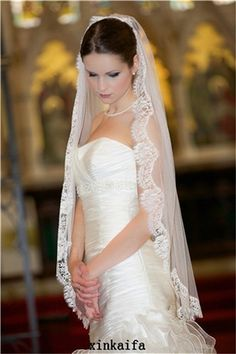 CheapCharming 1T Fingertip Length Lace Purfle Bridal Wedding Veil With Free Comb