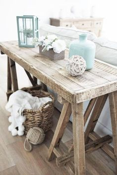 Great wooden rustic driftwood-ey sofa table for beach cottage style living. Sofa table idea... #livingroomideas #beachcottage