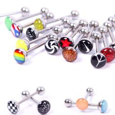 CHIC+New+Tongue+Bar+Ring+Barbell+6PCS+Lots+Titanium+Steel+Body+Piercing+Jewelry+#Unbranded